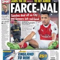 El frustrado traspaso de Alexis se tomó las portadas inglesas