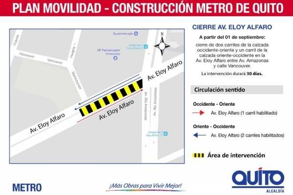 Municipio de Quito alerta cierre en tramo de la Av Eloy Alfaro