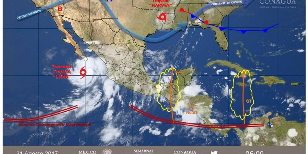 Activan alerta naranja en Baja California Sur por acercamiento de tormenta tropical Lidia