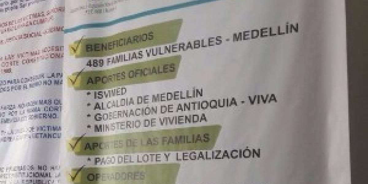 Alerta por captación de dinero a nombre de la Alcaldía de Medellín para viviendas