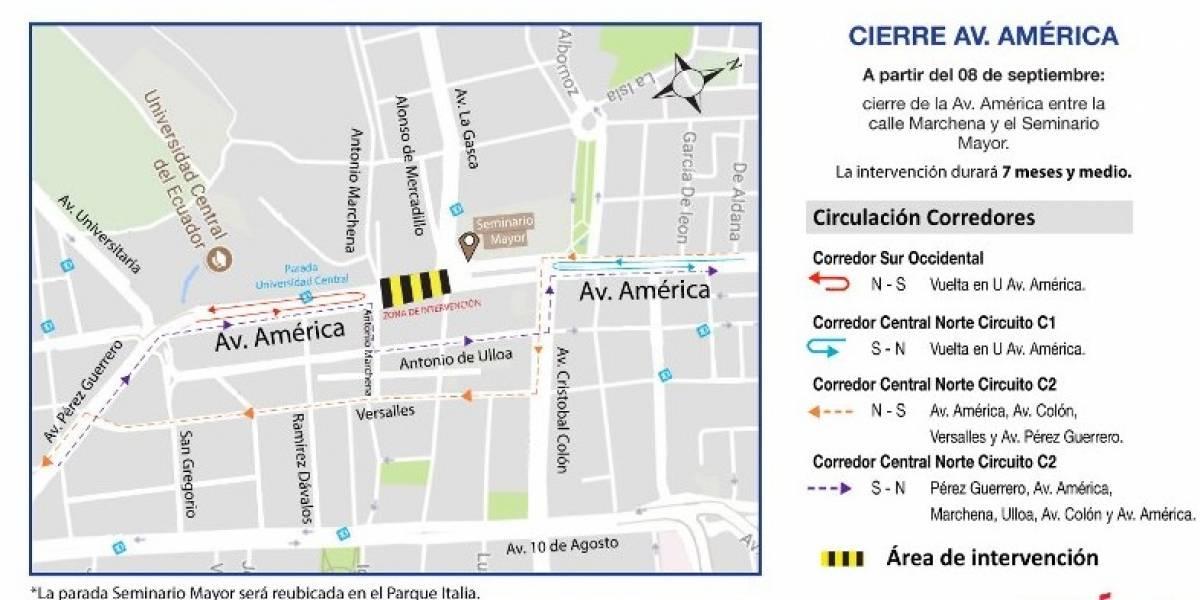 Tramo de la Avenida América estará cerrado desde el 8 de septiembre