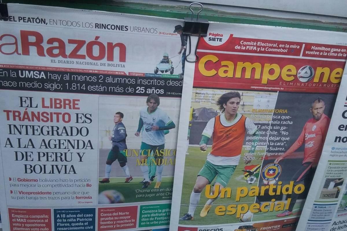 Algunas portadas de los medios bolivianos en la previa del duelo ante Chile / Diego Espinoza