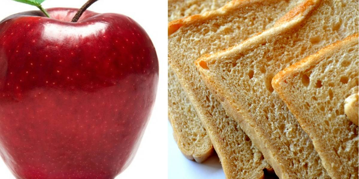 ¿Qué tiene más calorías? Una rebanada de pan o una manzana