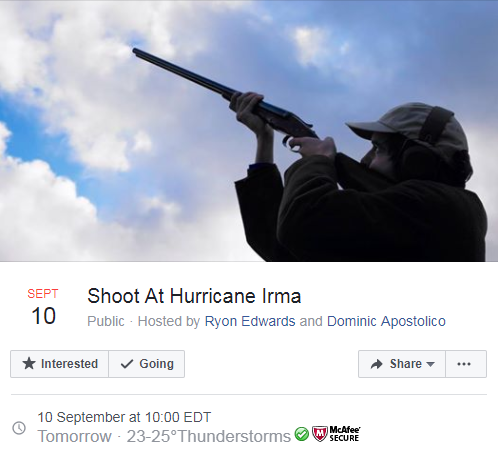Un sheriff de Florida insta a la gente a no disparar contra el huracán Irma