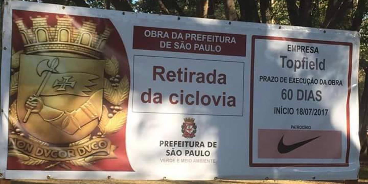 Placa sobre retirada de ciclovia patrocinada pela Nike foi erro, diz Prefeitura de São Paulo