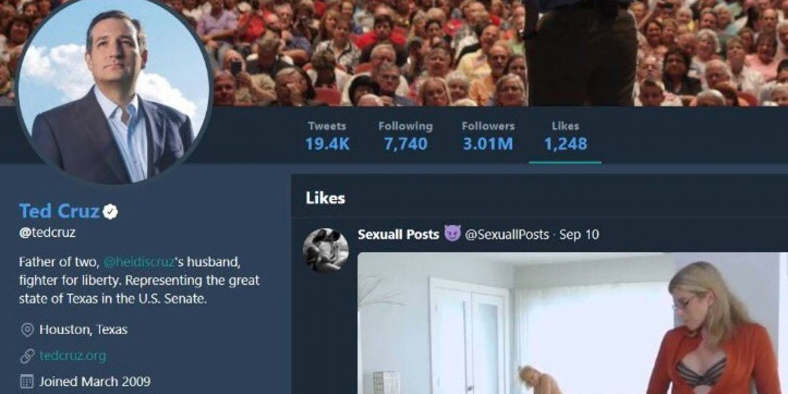 La sorprendente respuesta de estrella porno a Ted Cruz por su 'like'