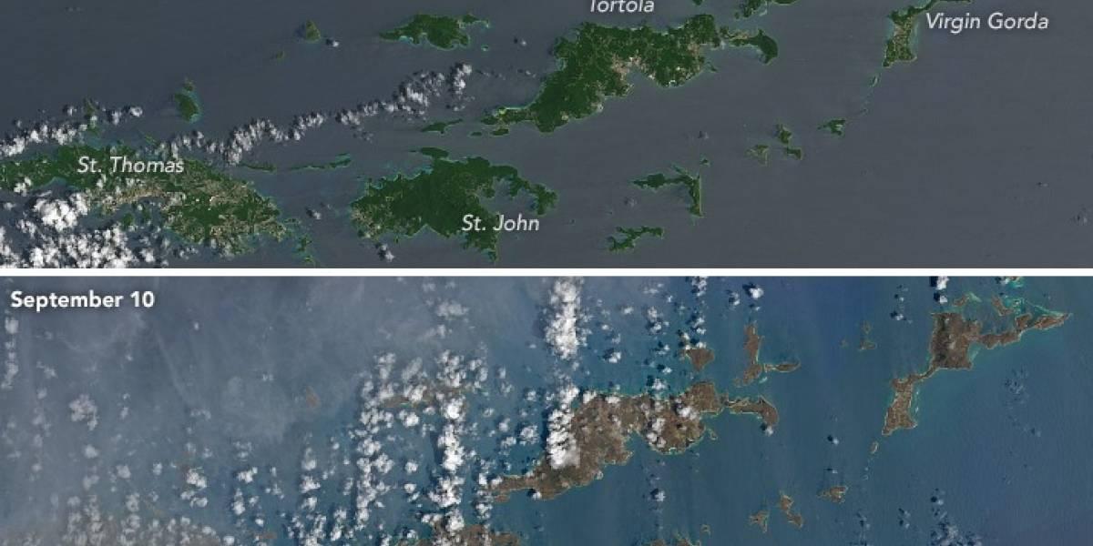La Nasa publica impactantes imágenes del antes y después de las islas del Caribe tras el paso del huracán Irma