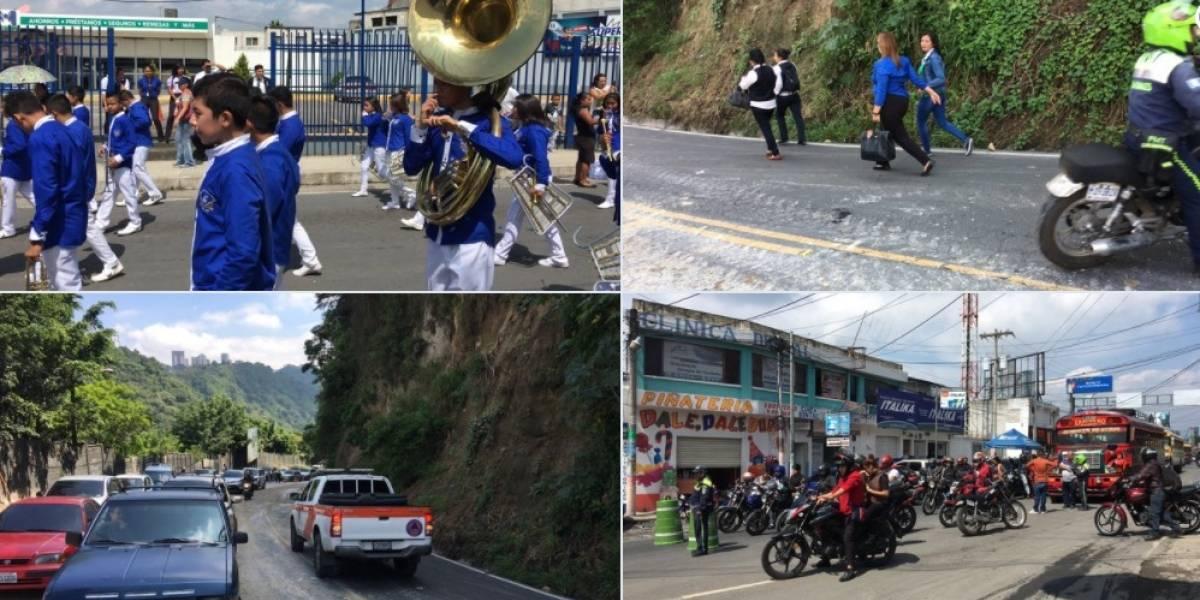 Desfiles y derrumbe complican tránsito a Boca del Monte