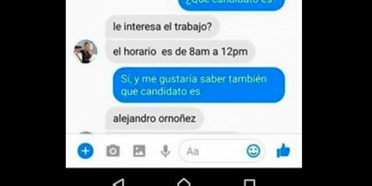 Esta es la supuesta oferta de trabajo para recolectar firmas por Alejandro Ordóñez