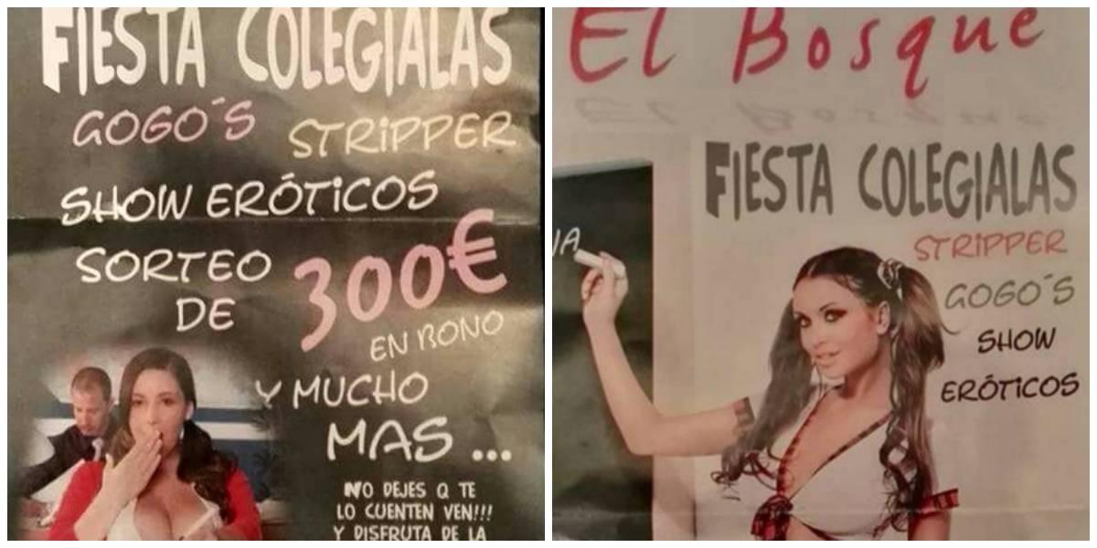 """Los acusan de incitar a la pedofilia: club de strippers usa la vuelta a clases en España para promocionar una """"Fiesta colegialas"""""""