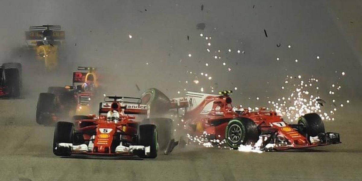 Choque de los Ferrari le puso en bandeja el triunfo a Hamilton en el GP de Singapur
