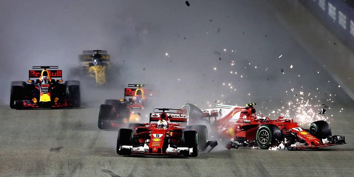 Hamilton vence GP de Cingapura após strike das Ferraris na largada
