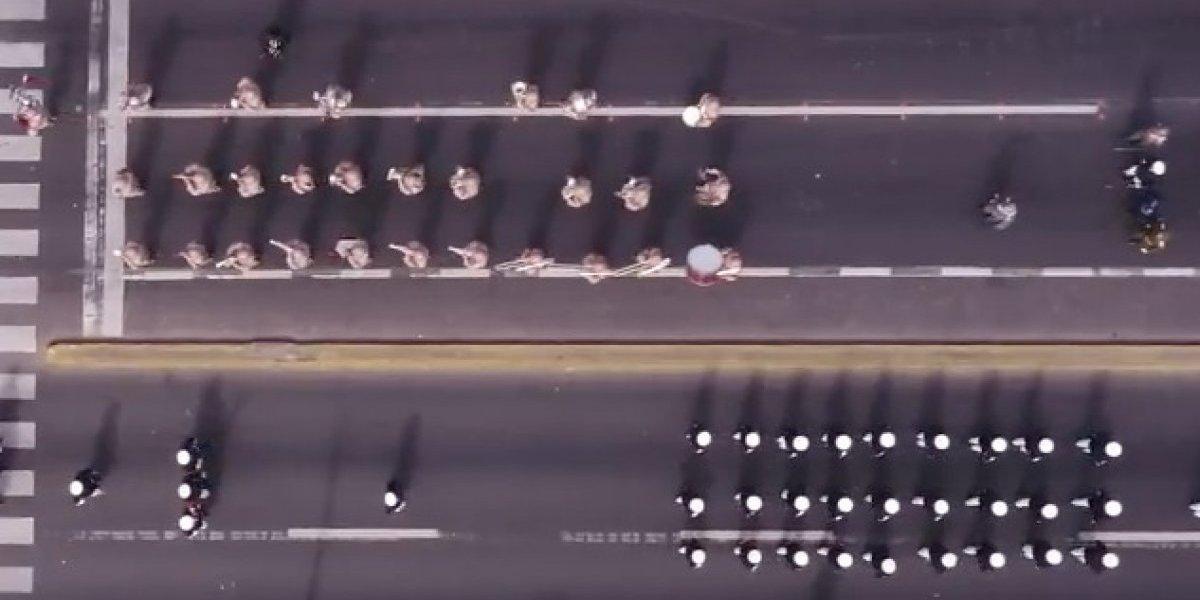 Iquique: así de cautivantes son las imágenes del aire que grabó un drone en el desfile militar