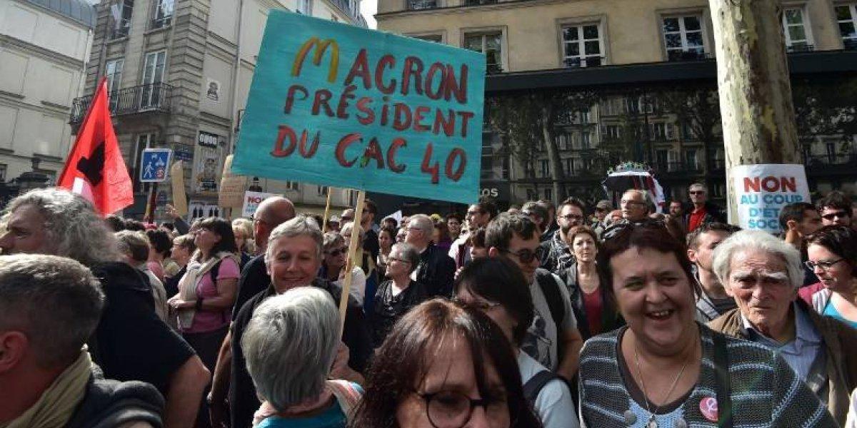 Izquierda radical y trabajadores protestan en Francia por reforma laboral del presidente Macron