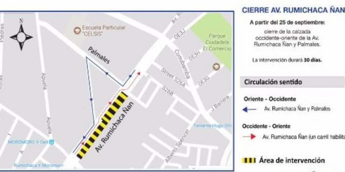 Cierre vial en la Av. Rumichaca Ñan por Metro de Quito