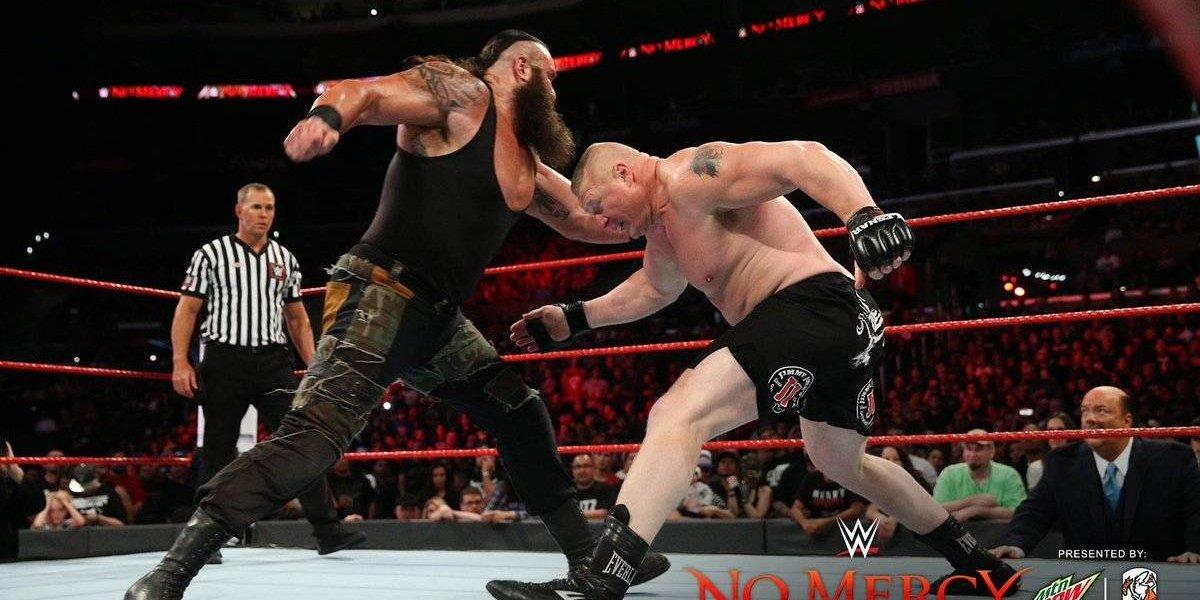 Brock Lesnar retuvo el título Universal al vencer a Braun Strowman en No Mercy