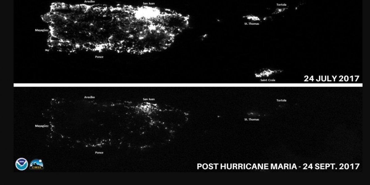 Así se ve el apagón en Puerto Rico desde el espacio