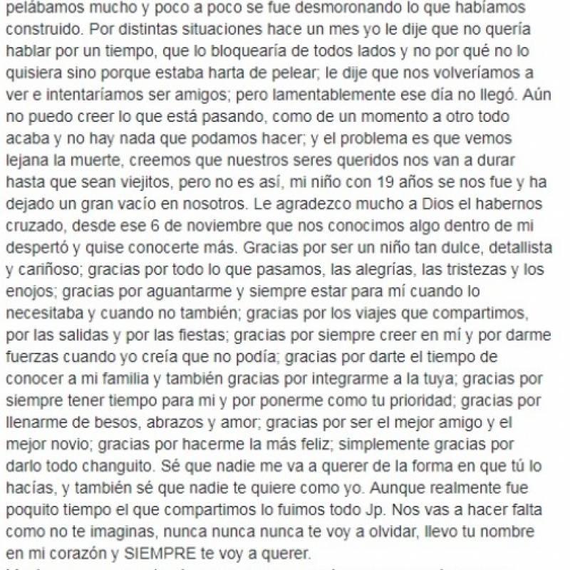Facebook: carta a joven que murió en terremoto México