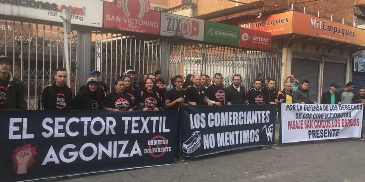 Bloqueos en el centro de Bogotá por marcha de comerciantes de San Victorino