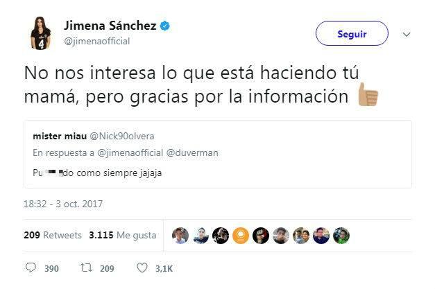 Jimena Sánchez responde con fuerte mensaje a seguidor que la insultó