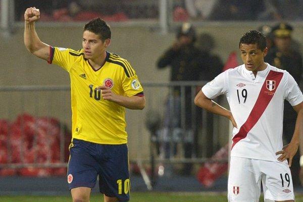 James Rodríguez celebrando su gol en el triunfo 1-0 de Colombia sobre Perú en Lima rumbo a Brasil 2014 / Foto: AFP
