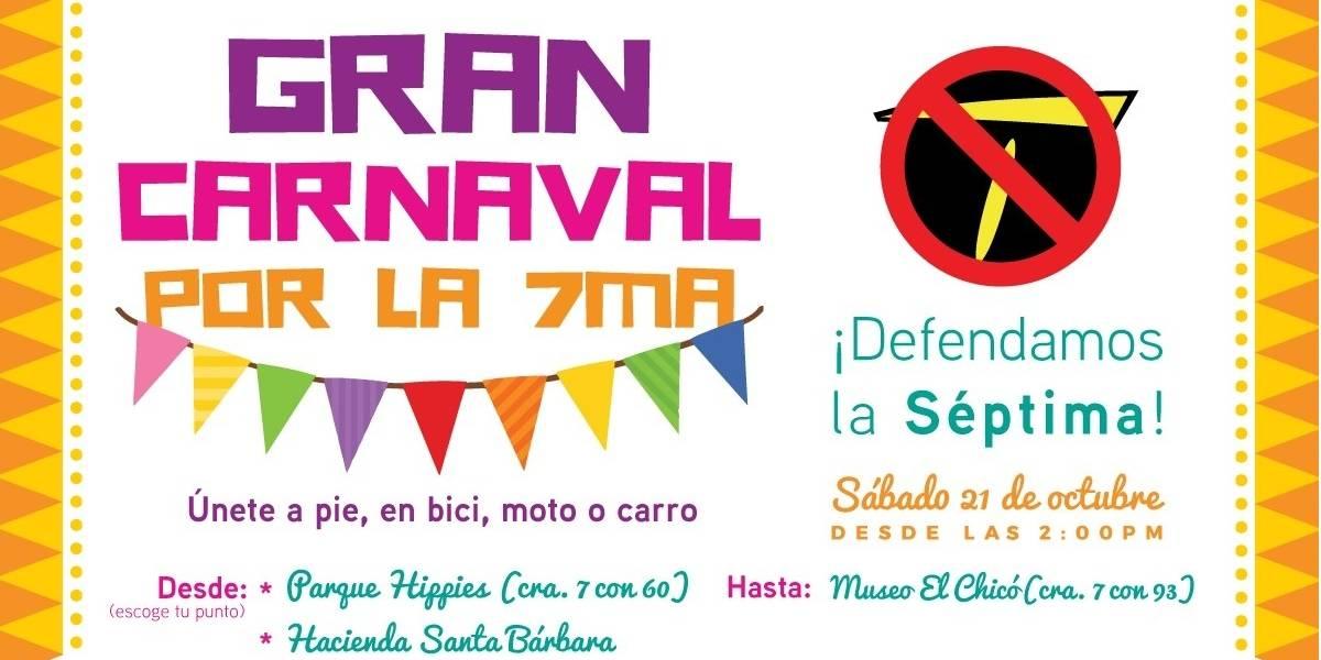 El sábado se realizará un gran carnaval en defensa de la carrera Séptima
