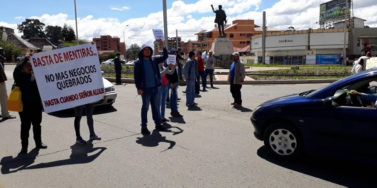 Frentistas del Tranvía protestan contra el Alcalde de Cuenca