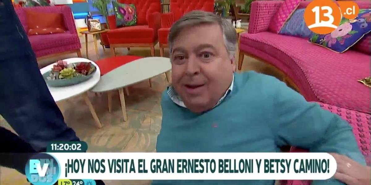 """Ernesto Belloni sufrió divertida caída en matinal """"Bienvenidos"""""""