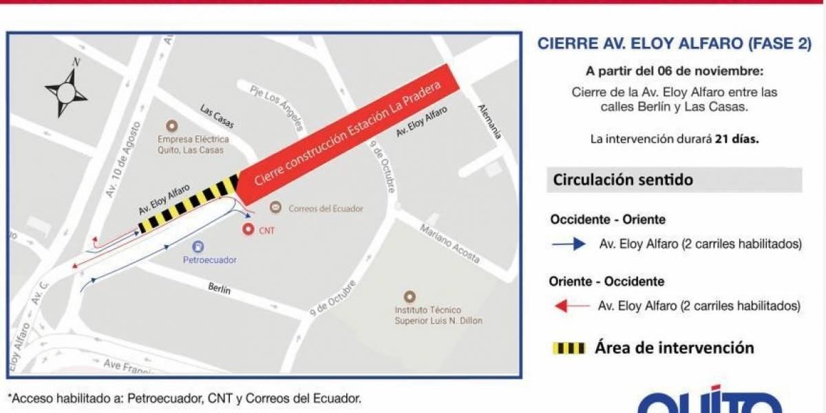Hoy se cerrará un tramo de la avenida Eloy Alfaro