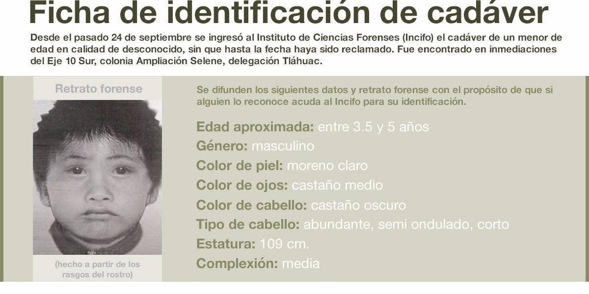 Buscan a familiares de menor de cinco años fallecido en Tláhuac