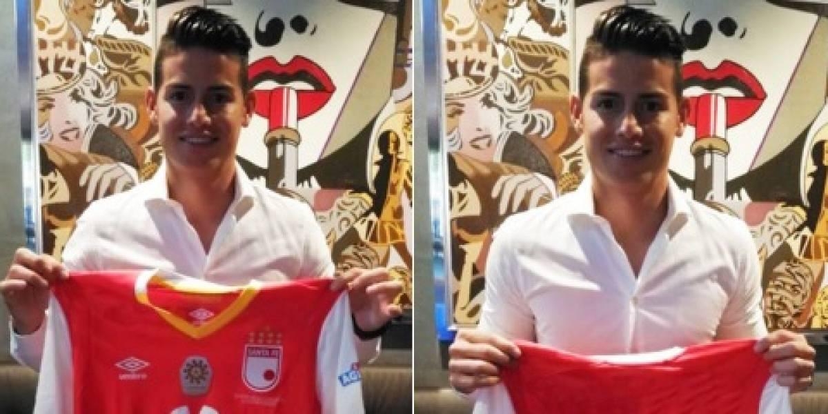 Por qué James Rodríguez posó con la camiseta de Santa Fe y no con otras del FPC