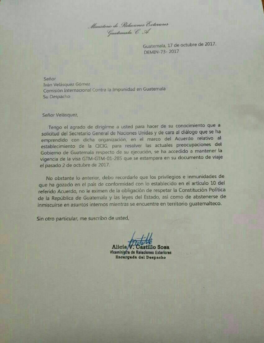 Ministerio de Relaciones Exteriores le envía carta a Iván Velásquez
