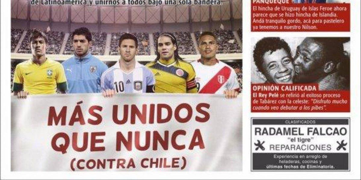 """""""Más unidos que nunca (contra Chile)"""": En Uruguay le da con todo a la Roja"""