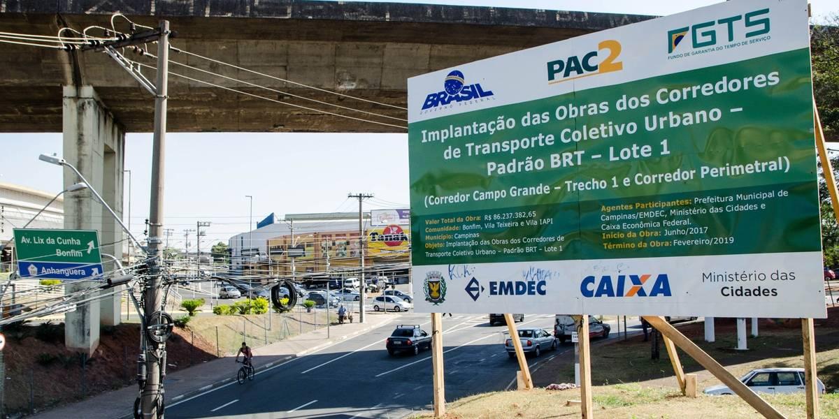 Corredor Campo Grande, em Campinas, tem obras de pavimento