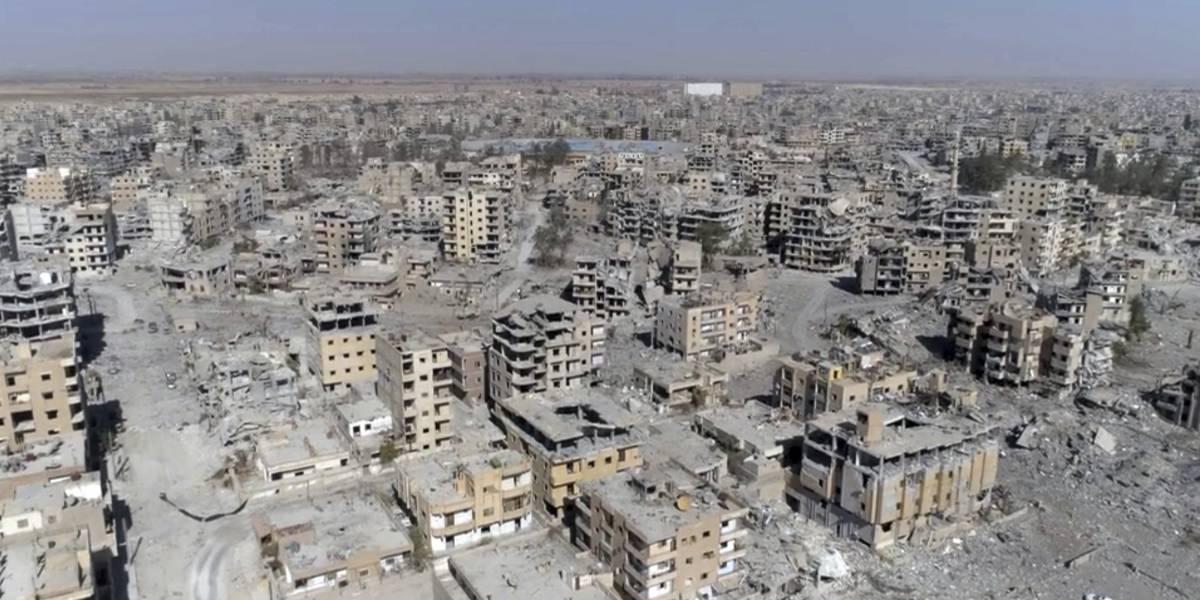 Drone capta la destrucción de Raqqa tras la última gran batalla del Estado Islámico