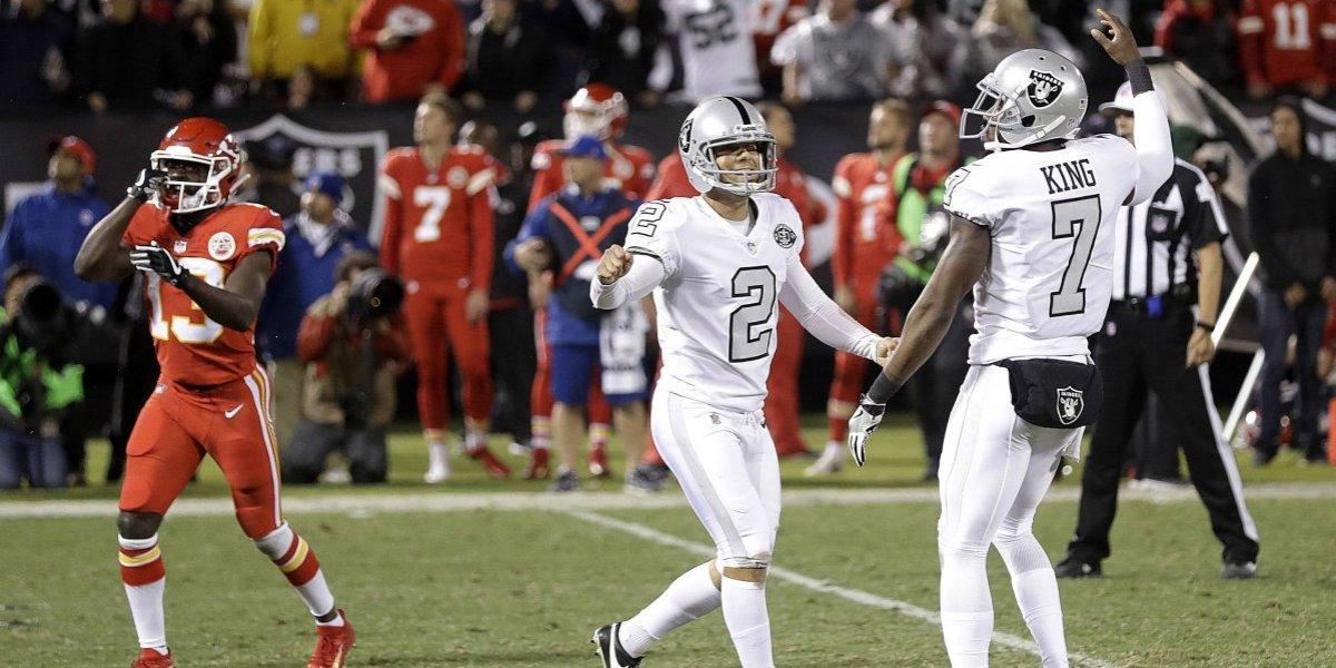 Raiders anotan en la última jugada, ganan a los Chiefs