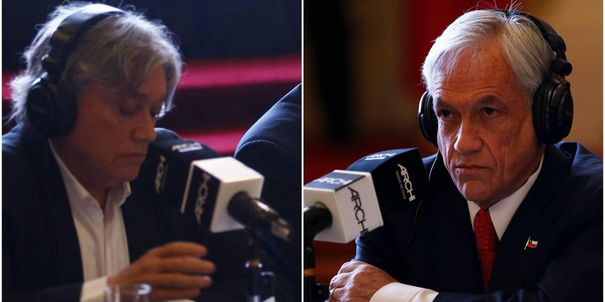 """Duro enfrentamiento en debate Archi: Navarro le lanza monedas a Piñera y este responde asegurando que a algunos """"el odio le sale por los poros"""""""