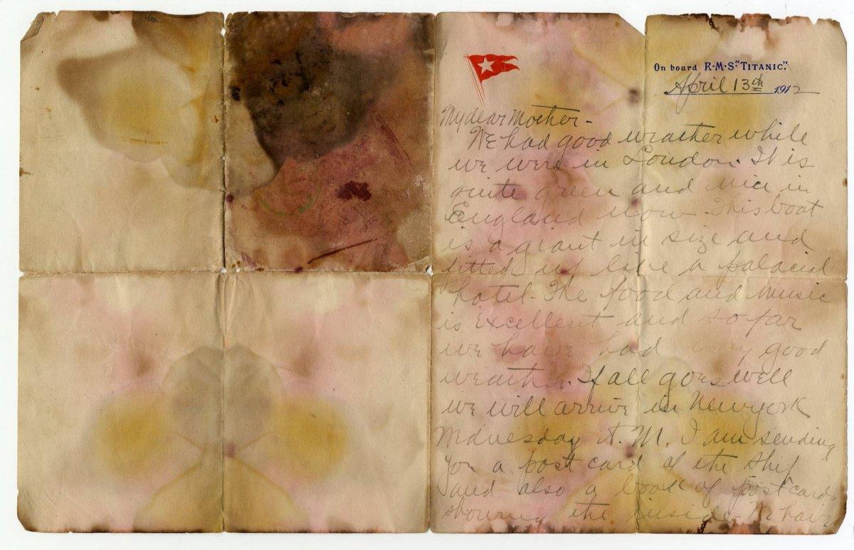 Venden carta escrita a bordo del Titanic por 166 mil dólares