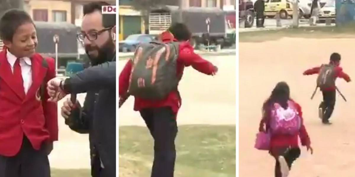 Niño prefirió dejar a periodista hablando solo porque iba tarde para el colegio