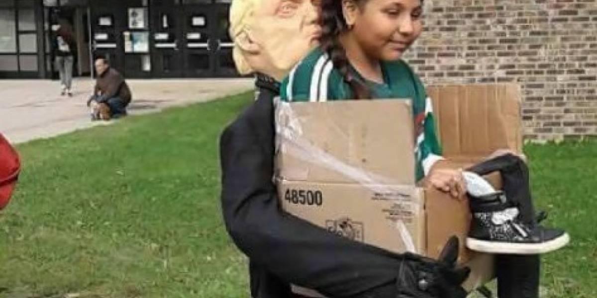 Causó sensación con su disfraz de niña deportada por Trump