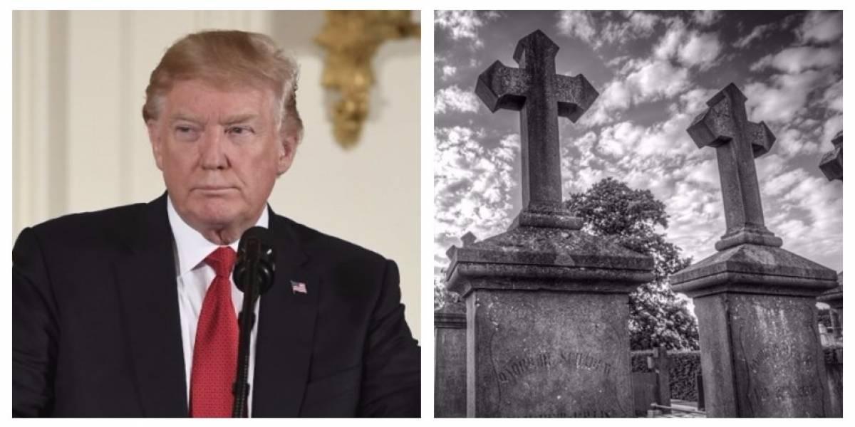 Polémica por lápida de Donald Trump llevada a escuela como broma de Halloween