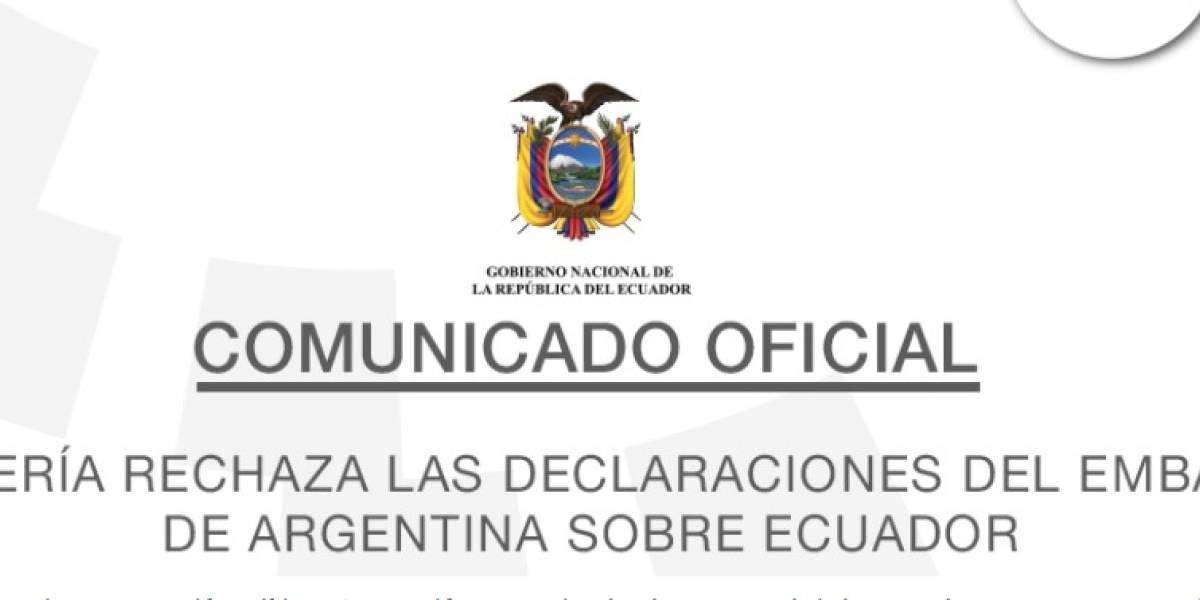 Cancillería rechaza las declaraciones del embajador de Argentina sobre Ecuador