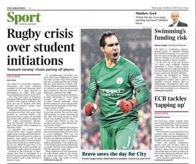 Bravo volvió a las portadas / imagen: The Times