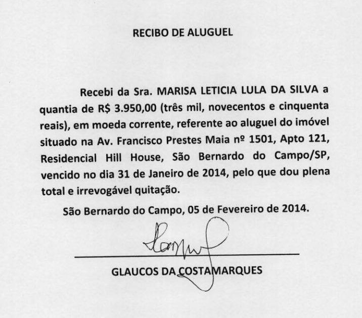 Defesa de Lula entrega a Moro recibos originais de aluguel do apartamento