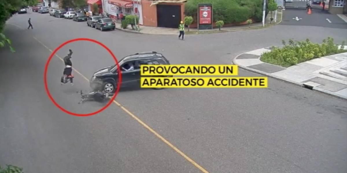 MuniGuate comparte video de conductor que arrolló e hizo volar a motorista
