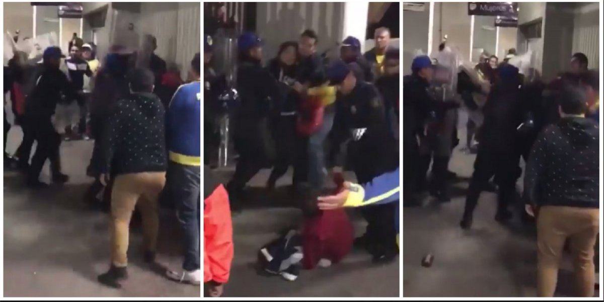 Policías golpean a aficionados del América en el Estadio Azteca