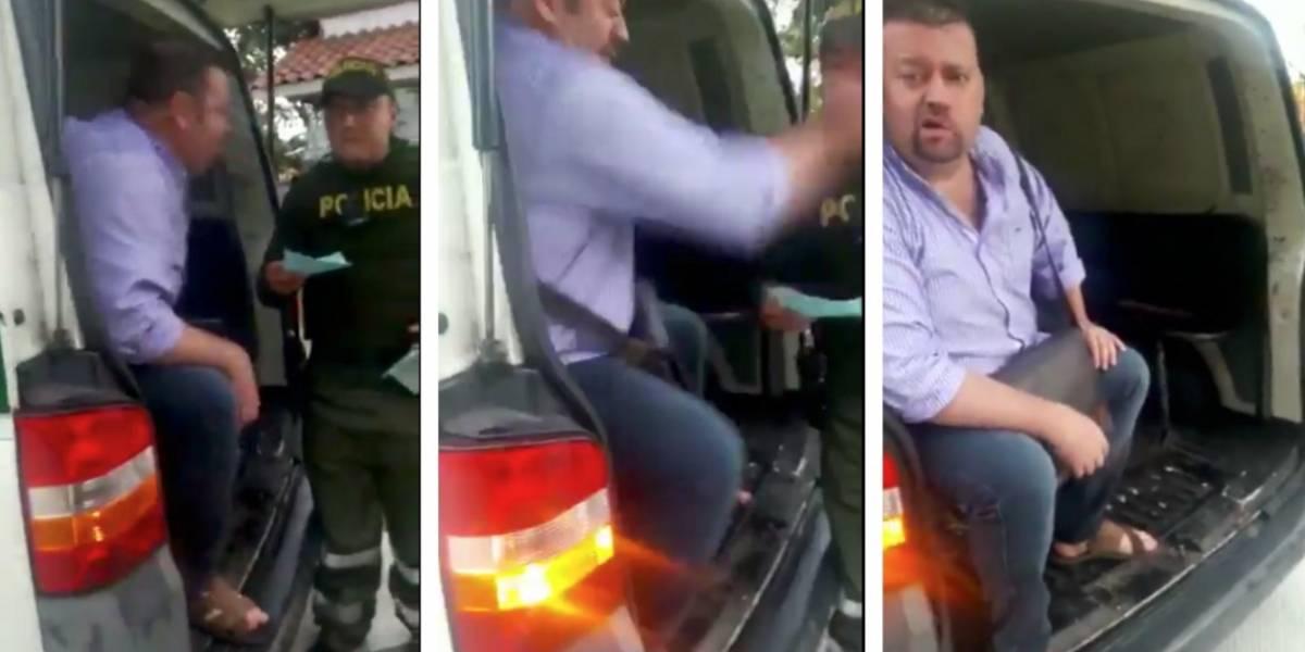 ¡Tremenda cachetada! Hombre agredió a policía porque le puso un comparendo