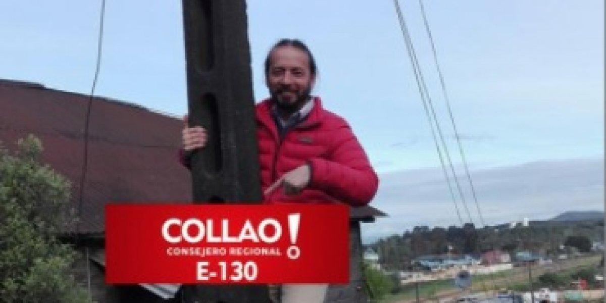 """""""Decidí colgarme 5 minutos por poste"""": la inusual y """"económica"""" campaña de candidato en la Región de Los Ríos"""