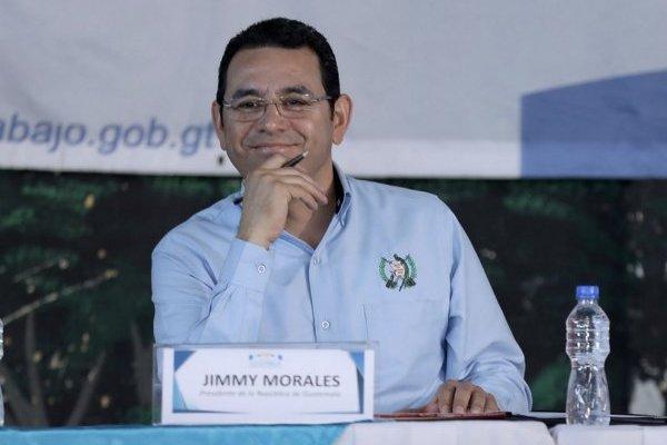 Jimmy Morales habla de Sammy durante su discurso en Jalapa