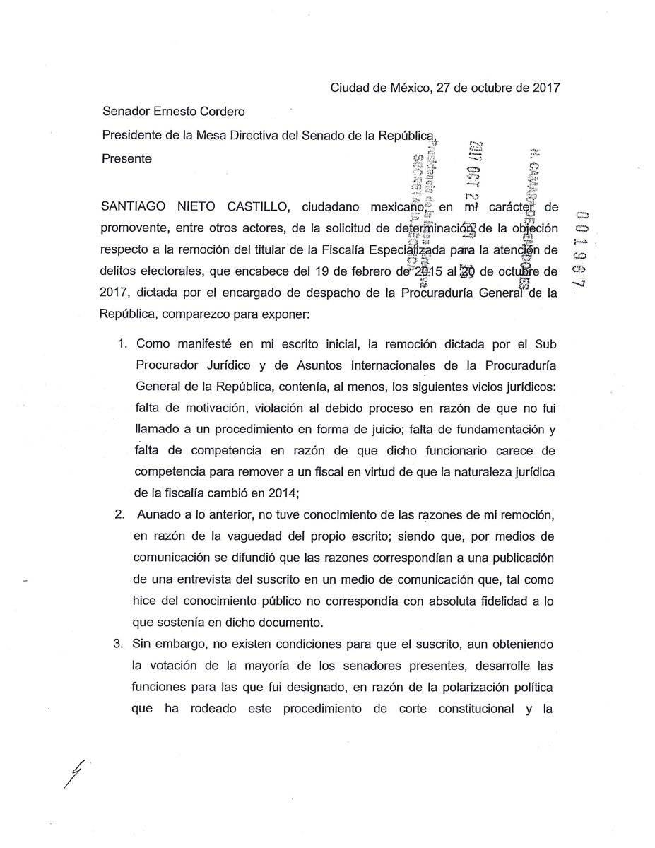 Carta de Santiago Nieto
